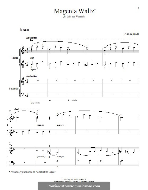 Magenta Waltz (Waltz of the Grapes): Für Klavier, vierhändig by Naoko Ikeda
