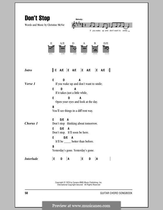 Don't Stop (Fleetwood Mac): Text und Akkorde by Christine McVie
