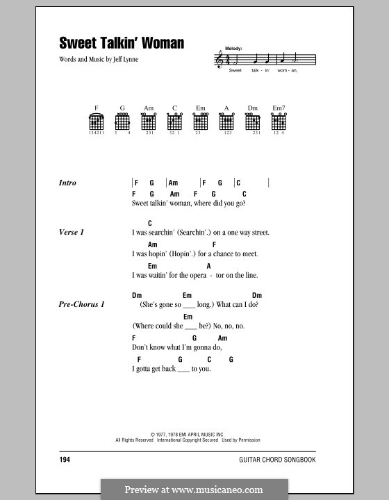Sweet Talkin' Woman (Electric Light Orchestra): Text und Akkorde by Jeff Lynne