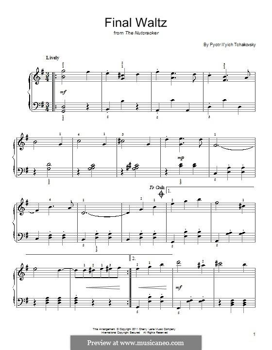 Nr.15 Finale Walzer und Apotheose: Bearbeitung für Klavier (Fragment) by Pjotr Tschaikowski