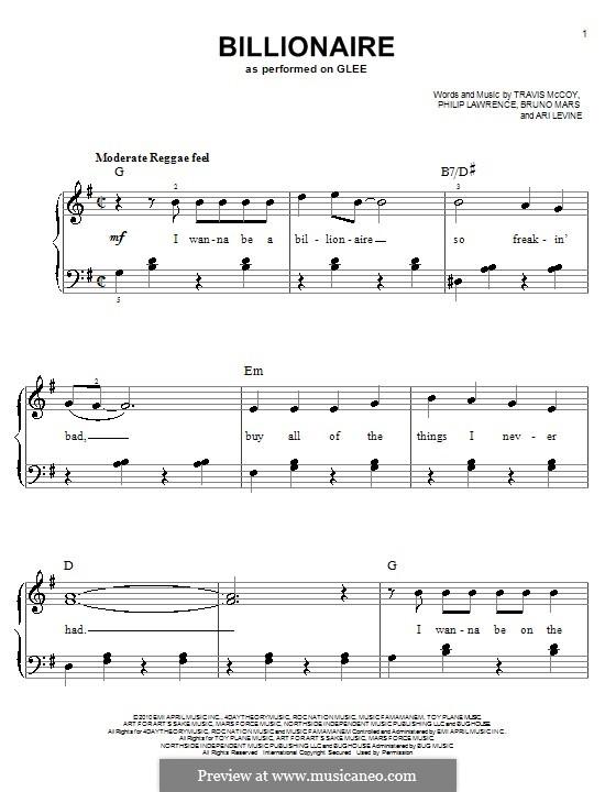 Billionaire: Für Klavier, leicht (Glee Cast) by Ari Levine, Bruno Mars, Philip Lawrence, Travis McCoy