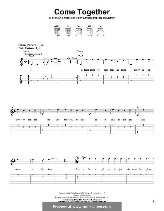 Come Together (The Beatles): Für Gitarre (leicht, mit Tabulatur) by John Lennon, Paul McCartney