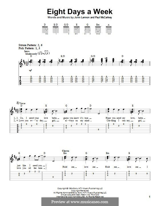 Eight Days a Week (The Beatles): Für Gitarre (leicht) by John Lennon, Paul McCartney