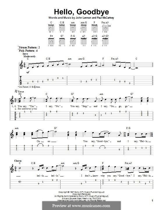 Hello, Goodbye (The Beatles): Für Gitarre (Sehr leichte Fassung) by John Lennon, Paul McCartney