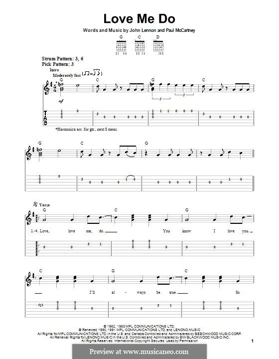 Love Me Do (The Beatles): Für Gitarre (Sehr leichte Fassung) by John Lennon, Paul McCartney