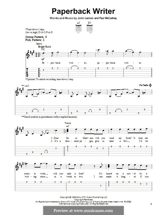 Paperback Writer (The Beatles): Für Gitarre (Sehr leichte Fassung) by John Lennon, Paul McCartney