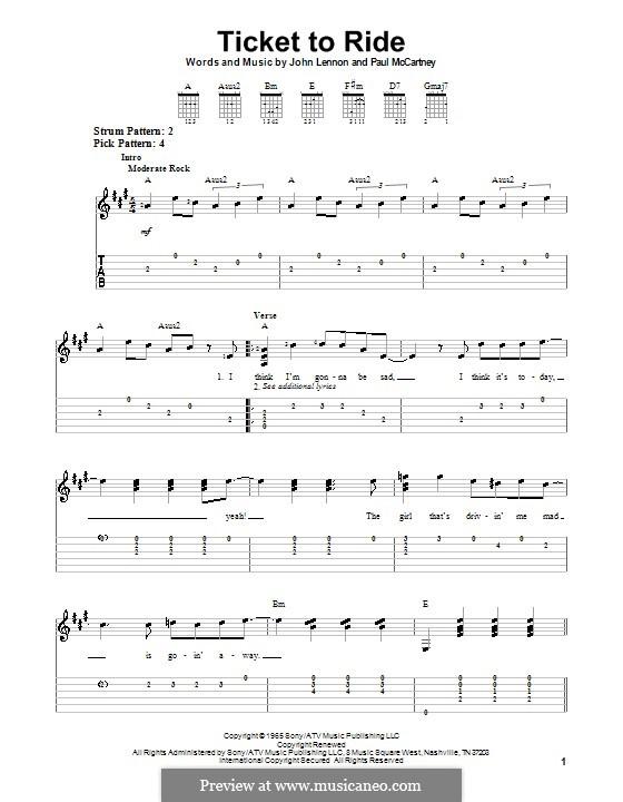Ticket to Ride (The Beatles): Für Gitarre (leicht, mit Tabulatur) by John Lennon, Paul McCartney