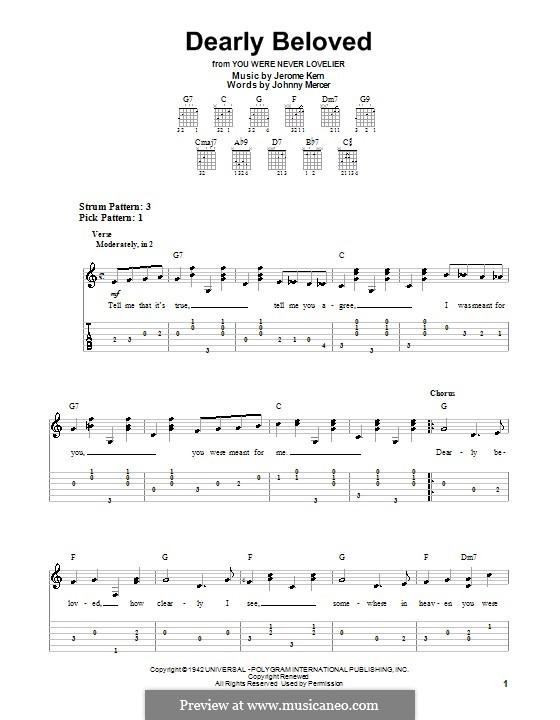 Dearly Beloved: Für Gitarre (leicht, mit Tabulatur) by Jerome Kern