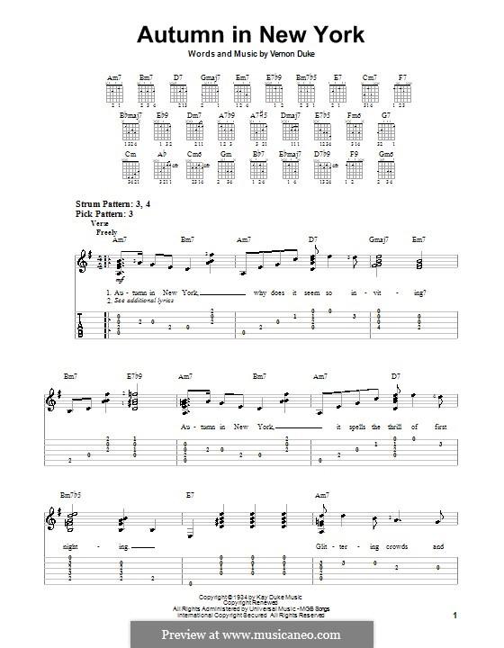 Autumn in New York: Für Gitarre (Sehr leichte Fassung) by Vernon Duke