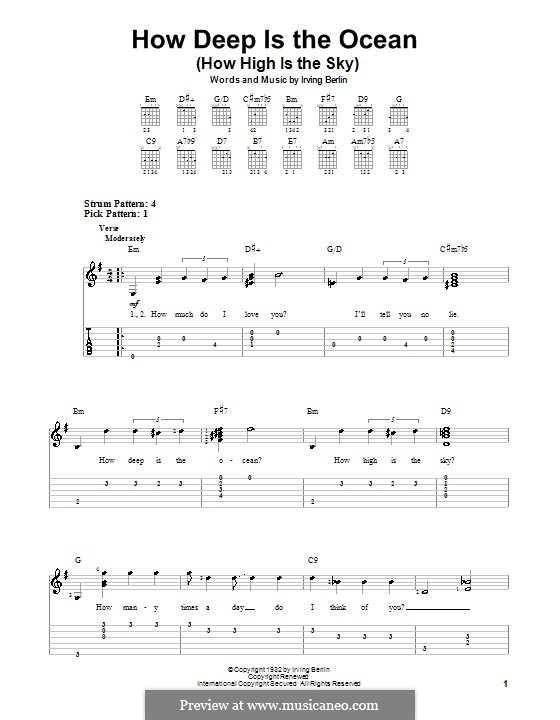 How Deep is the Ocean (How High is the Sky): Für Gitarre (Sehr leichte Fassung) by Irving Berlin