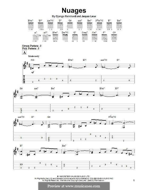 Nuages: Für Gitarre (Sehr leichte Fassung) by Jacques Larue