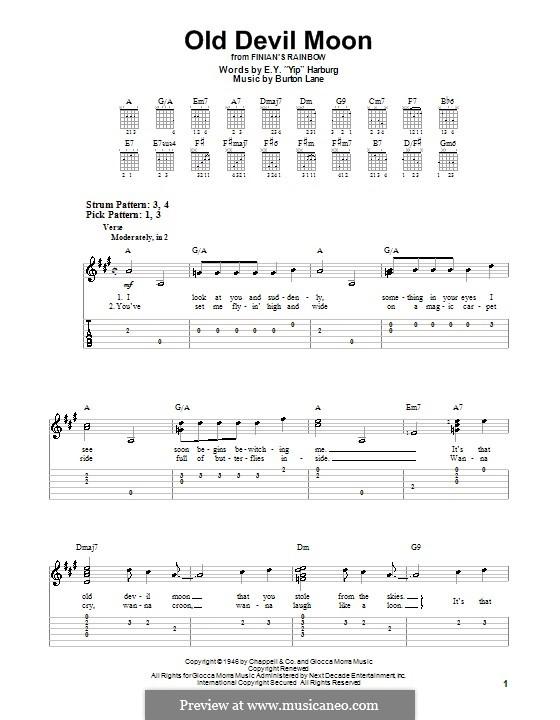 Old Devil Moon: Für Gitarre (Sehr leichte Fassung) by Burton Lane