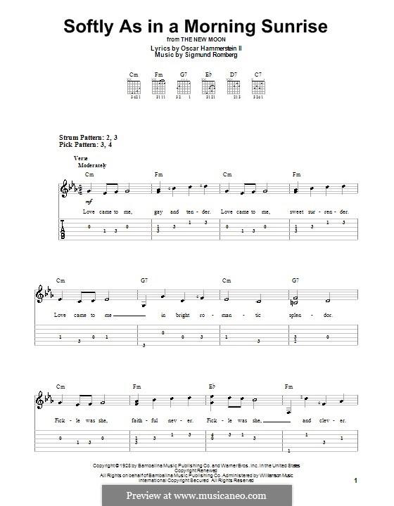 Softly as in a Morning Sunrise: Für Gitarre (leicht, mit Tabulatur) by Sigmund Romberg