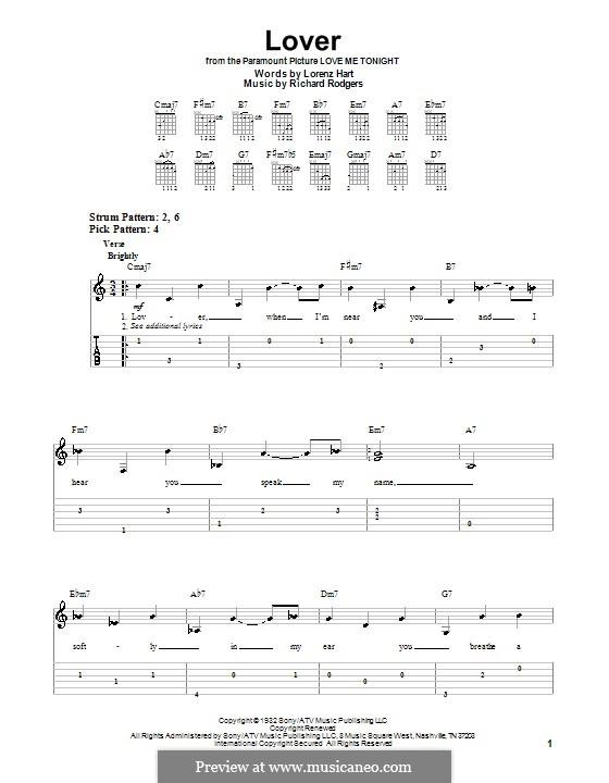 Lover: Leichte Tabulatur für Gitarre by Richard Rodgers