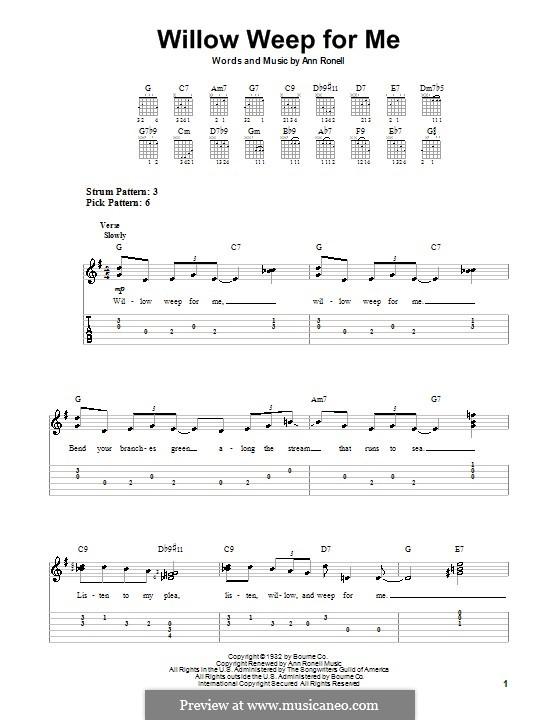 Willow Weep for Me (Chad & Jeremy): Für Gitarre (Sehr leichte Fassung) by Ann Ronell
