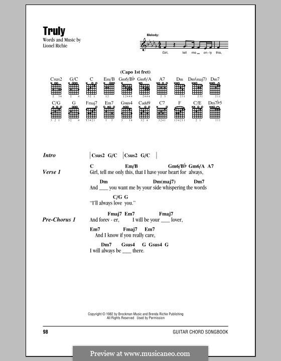 Truly: Texte und Akkorde by Lionel Richie