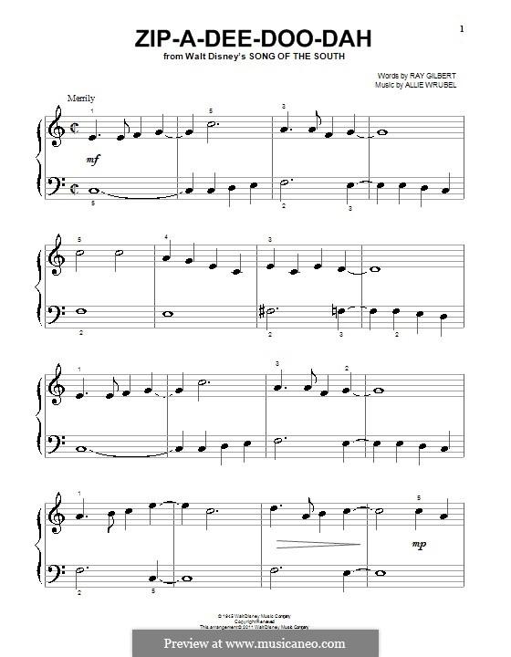 Zip-A-Dee-Doo-Dah: Für Klavier (mit Applikatur) by Allie Wrubel
