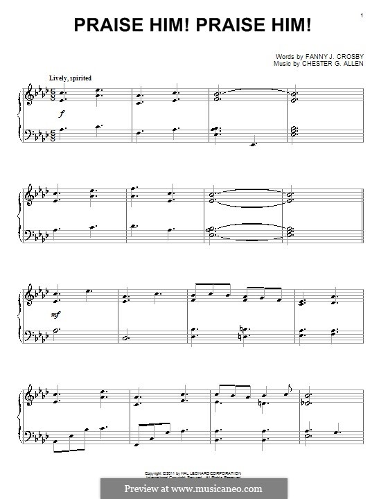Praise Him! Praise Him!: Für Klavier by Chester G. Allen