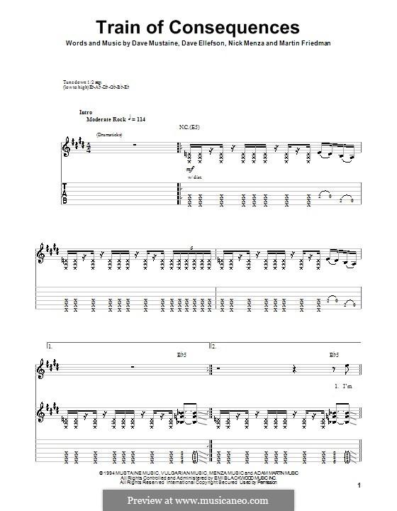 Train of Consequences (Megadeth): Für Gitarre mit Tabulatur by Dave Ellefson, Dave Mustaine, Martin Friedman, Nick Menza