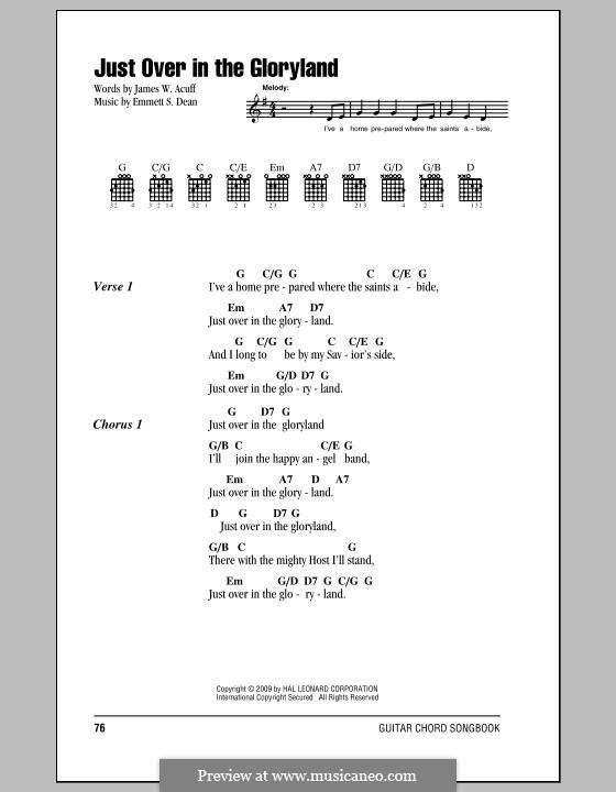 Just Over in the Gloryland: Text und Akkorde by Emmett S. Dean