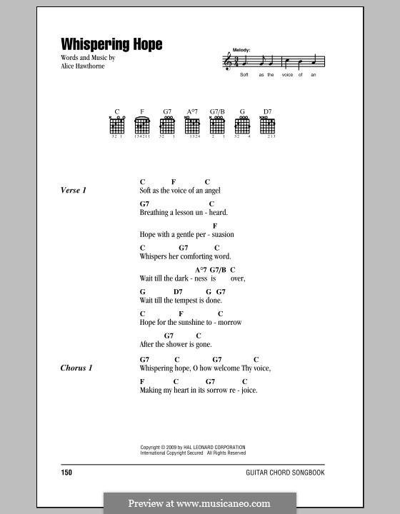 Whispering Hope: Text und Akkorde by Septimus Winner