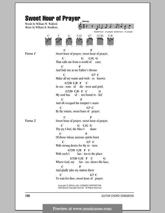 Sweet Hour of Prayer: Text und Akkorde by William Batchelder Bradbury