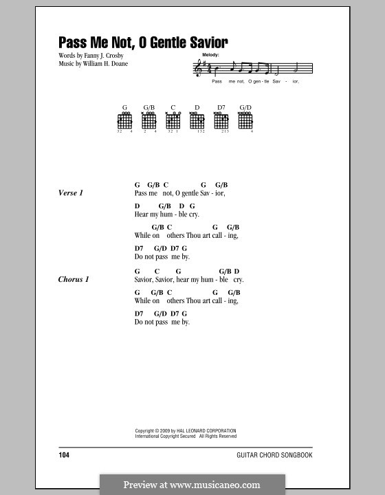Pass Me Not, O Gentle Savior: Text und Akkorde by William Howard Doane
