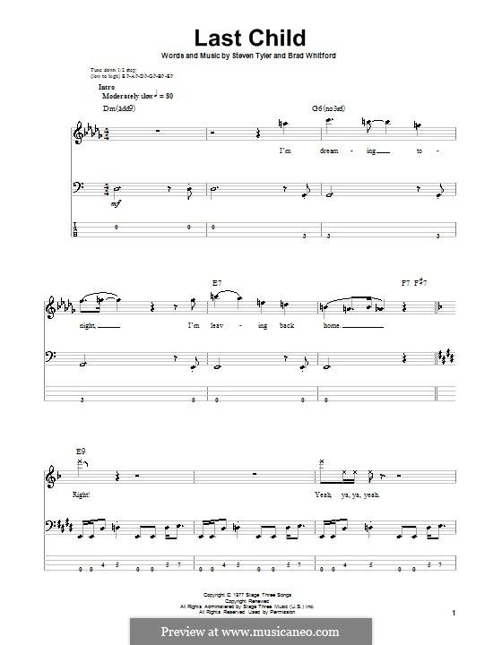Last Child (Aerosmith): Für Bassgitarre mit Tabulatur by Brad Whitford, Steven Tyler