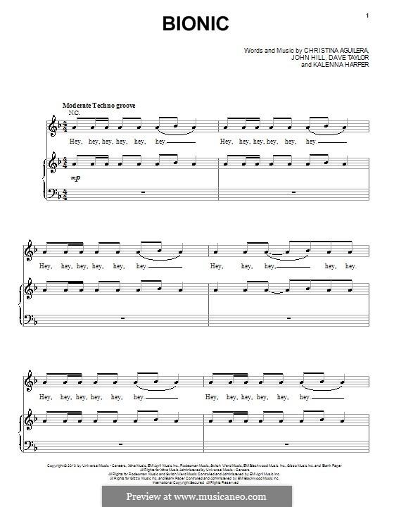 Bionic (Christina Aguilera): Für Stimme und Klavier (oder Gitarre) by John Leubrie Hill, Dave Taylor, Kalenna Harper