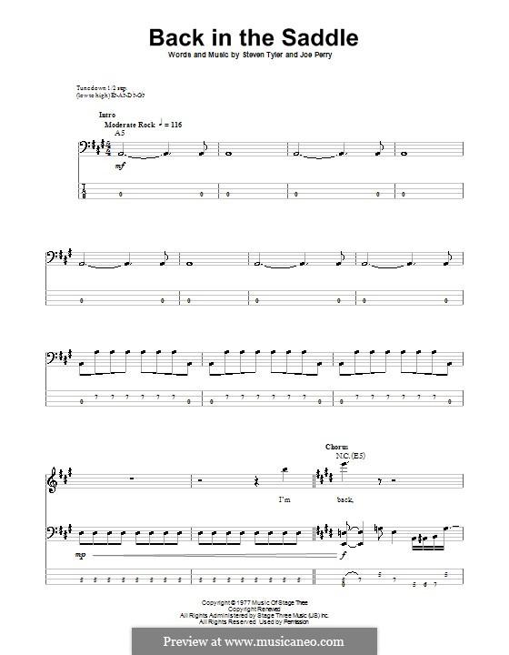 Back in the Saddle (Aerosmith): Für Bassgitarre mit Tabulatur by Joe Perry, Steven Tyler