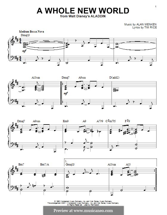 A Whole New World (from Aladdin), for Piano: Für einen Interpreten by Alan Menken