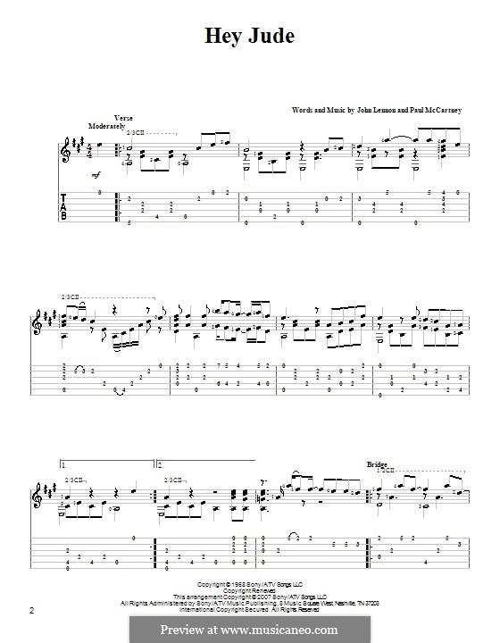 Hey Jude (The Beatles), for One Instrument: Für Gitarre mit Tabulatur (A Major) by John Lennon, Paul McCartney