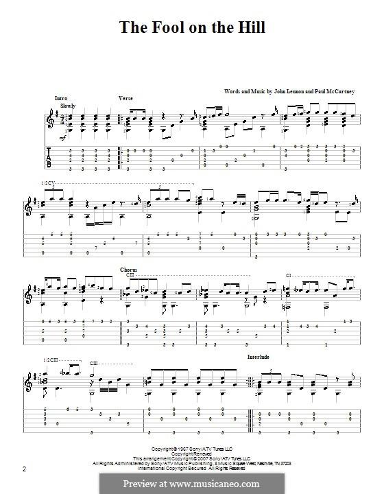 The Fool on the Hill (The Beatles): Für Gitarre mit Tabulatur by John Lennon, Paul McCartney