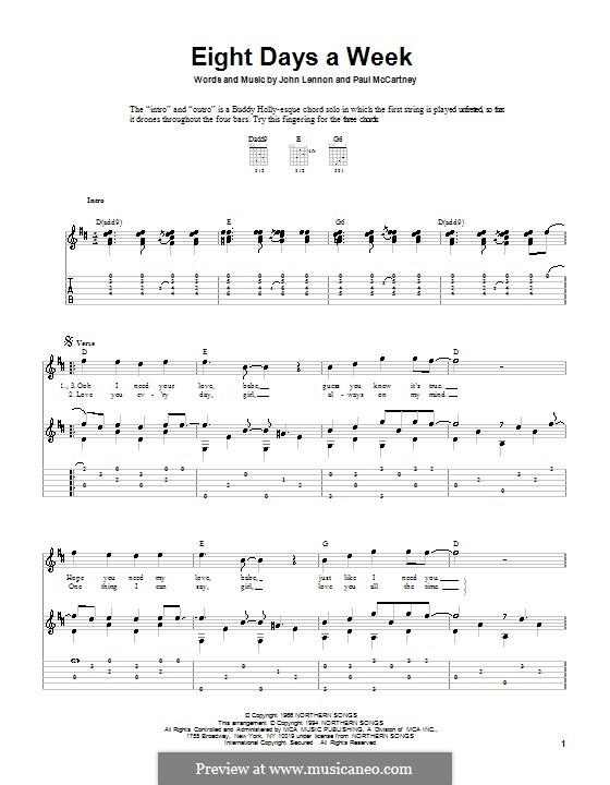 Eight Days a Week (The Beatles): Für Gitarre mit Tabulatur by John Lennon, Paul McCartney