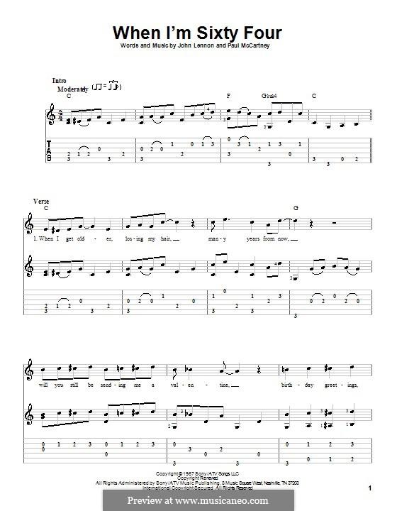 When I'm Sixty-Four (The Beatles), for One Instrument: Für Gitarre mit Tabulatur by John Lennon, Paul McCartney