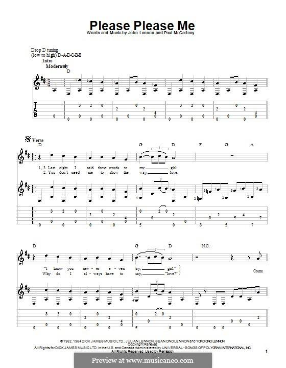 Please Please Me (The Beatles): Für Gitarre (D Major) by John Lennon, Paul McCartney