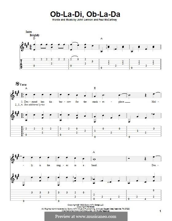 Ob-La-Di, Ob-La-Da (The Beatles), for One Instrument: Für Gitarre mit Tabulatur by John Lennon, Paul McCartney