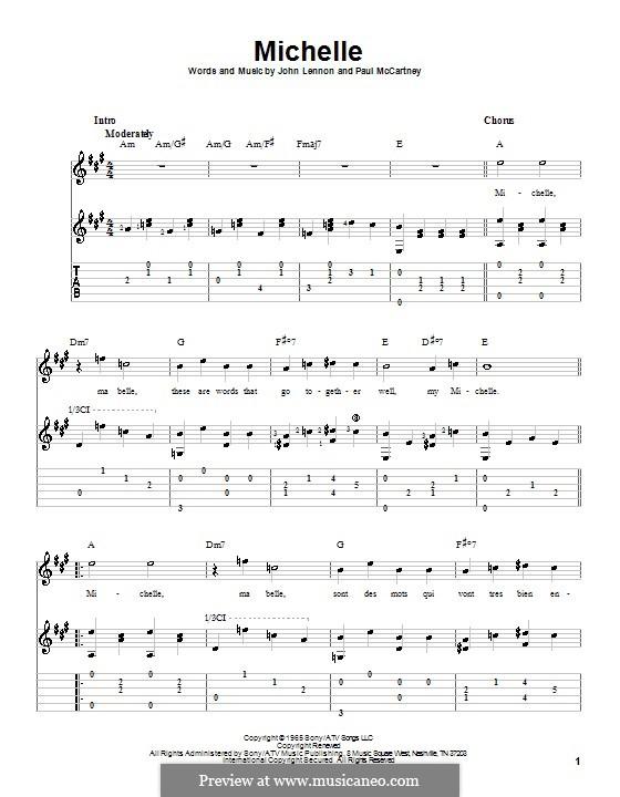 Michelle (The Beatles), for One Instrument: Für Gitarre mit Tabulatur (Noten von hohem Qualität) by John Lennon, Paul McCartney