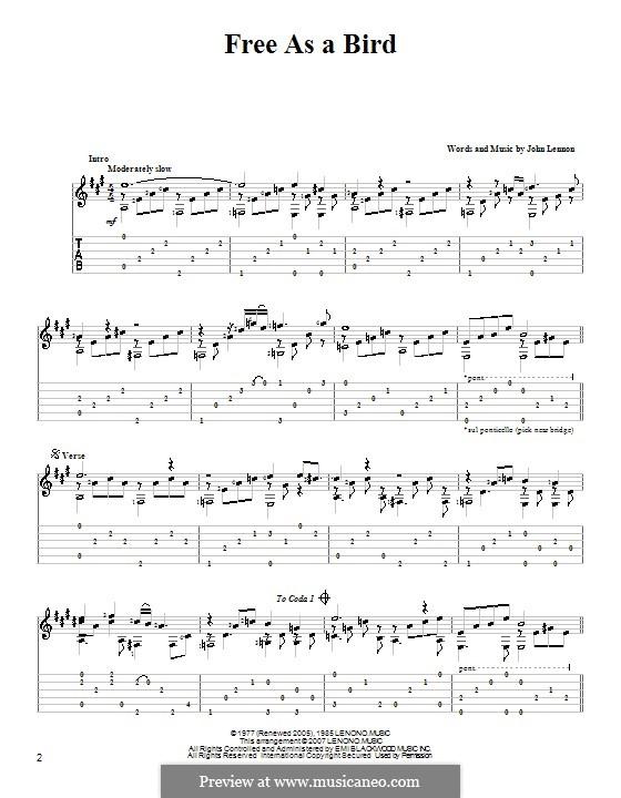 Free as a Bird (The Beatles) : Für Gitarre mit Tabulatur by John Lennon