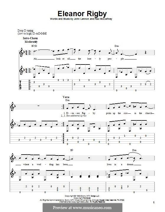 Eleanor Rigby (The Beatles): For guitar with tabulature and lyrics by John Lennon, Paul McCartney