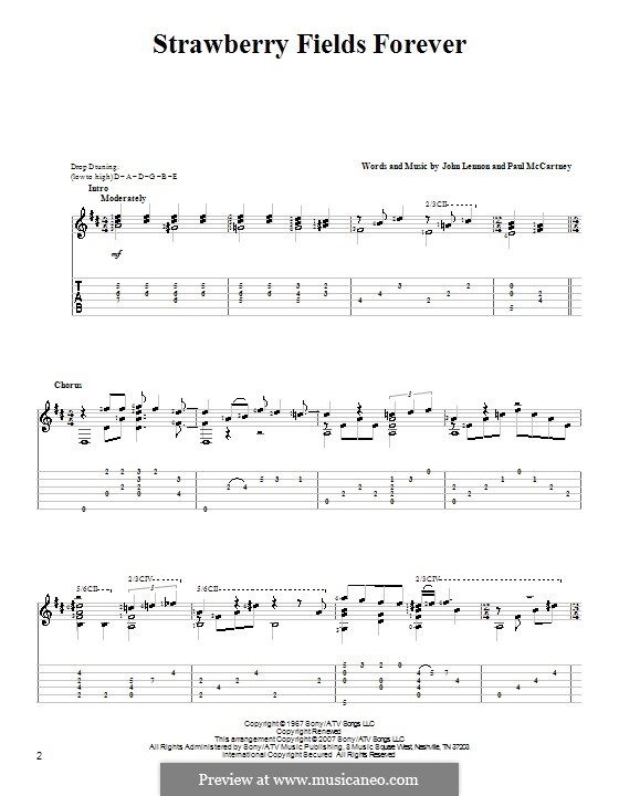 Strawberry Fields Forever (The Beatles): Für Gitarre mit Tabulatur by John Lennon, Paul McCartney