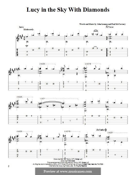Lucy in the Sky with Diamonds (The Beatles): Für Gitarre by John Lennon, Paul McCartney