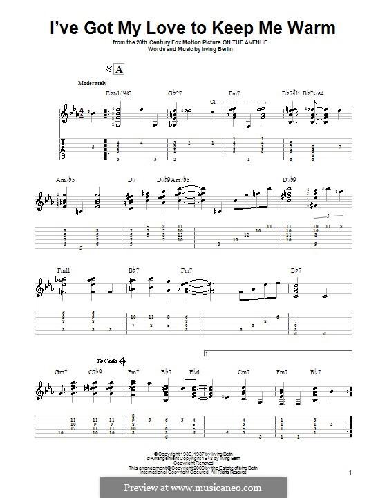 I've Got My Love to Keep Me Warm (Frank Sinatra): Für Gitarre mit Tabulatur by Irving Berlin
