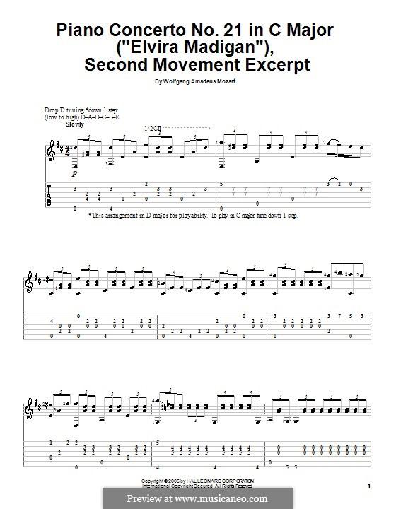 Konzert für Klavier und Orchester Nr.21 in C-Dur, K.467: Teil II (Fragment). Version für Gitarre by Wolfgang Amadeus Mozart