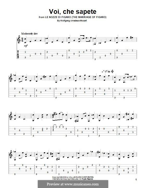 Voi, che sapete: Version für Gitarre by Wolfgang Amadeus Mozart