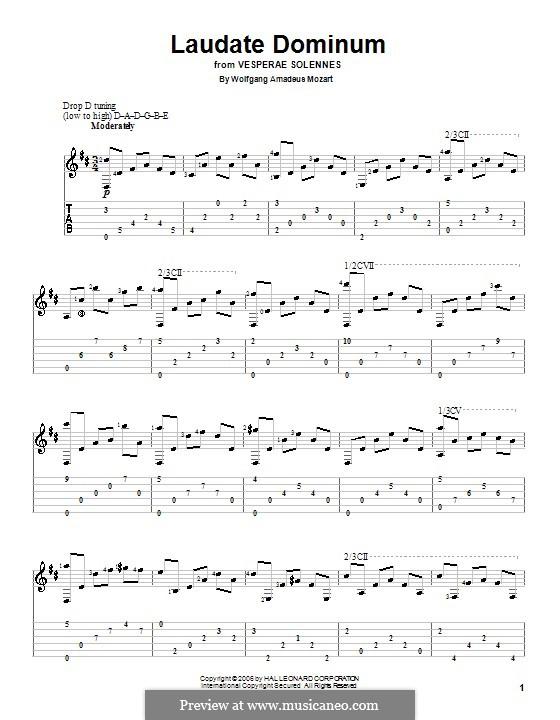 Vesperae solennes de confessore, K.339: Laudate Dominum, for guitar by Wolfgang Amadeus Mozart