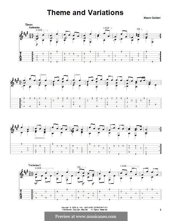 Thema und Variationen in A-Dur: Thema und Variationen in A-Dur by Mauro Giuliani