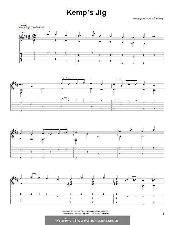 Kemp's Jig: Für Gitarre by Unknown (works before 1850)