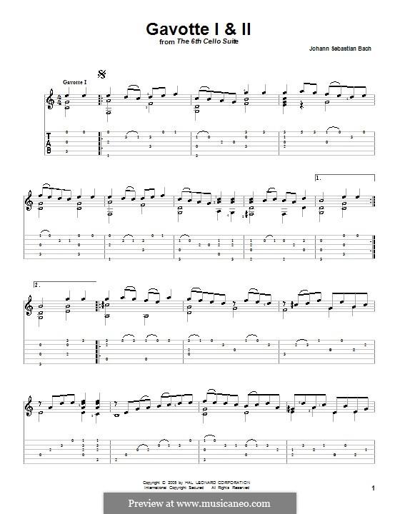 Suite für Cello Nr.6 in D-Dur, BWV 1012: Gavotten Nr.1-2. Version für Klavier by Johann Sebastian Bach