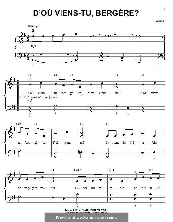 D'ou Viens-Tu, Beregere?: Für Klavier, leicht by folklore